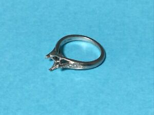 Ritani Palladium Engagement Ring Mount with side mounted diamonds