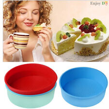 """8"""" Round Silicone Cake Mold Pan Muffin Chocolate Pizza Pastry Baking Tray Mould"""