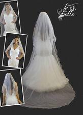 2 In 1 Veil Waist & Cathedral Length Long Crystal Detachable Bridal Veil Wedding