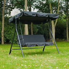 3 Seat Swing Chair Garden Swinging Bench Outdoor Hammock Lounger W/ Canopy