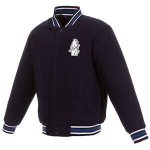 MLB Chicago Cubs  Reversible Wool Jacket  2 Front Vintage Logos JH Design  Navy