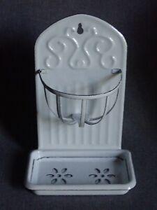 NOS Antique French Enamel Ware Soap Dish Sponge Holder Wall Mount Graniteware