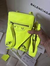 Balenciaga Classic Phone Holder Bag Neon Yellow 100% Authentic With Receipt NEW!
