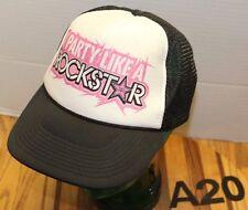 ROCKSTAR ENERGY DRINK SNAPBACK HAT MESH BACK BLACK/WHITE VERY GOOD COND A20