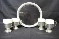 9pc Vintage KIRK STIEFF Pewter & Ceramic COFFEE CUPS 231-38 +Lucite Serving Tray