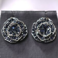 Antique Vintage Blue Sapphire Flower Earrings Women Wedding Anniversary Jewelry