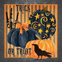 20 HALLOWEEN LUNCH TRICK OR TREAT NAPKINS PARTY TABLE DECORATION PUMPKINS CROW