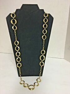 """33.5"""" Sheila Fajl Glow Necklace Circles 18k Brushed Gold Over Brass"""