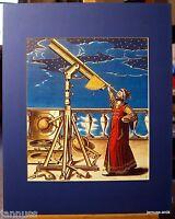 alter Druck Reklame hinter Passepartouts Sternengucker Astronomie 50x40cm 918