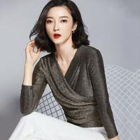 Spring Women Slim Mesh Glitter Wrap V Neck Long Sleeve Ladies T Shirt Blouse Top