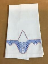Vintage Show Towel Or Guest Towel, White, Cotton, Blue & Orange Embroidery