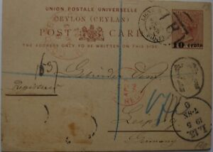 1891: 10 cents on 8 cents brown registered Postcard: Colombo to Leipzig.