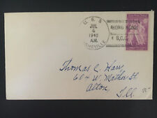 1940 US Navy Post Office Hong Kong China Cover to alton IL USA USS Asheville