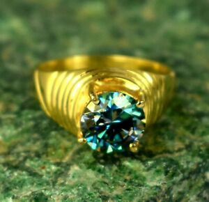 Blue Diamond 4.68 Ct. Solitaire Gold Finish Men's Proposal Ring