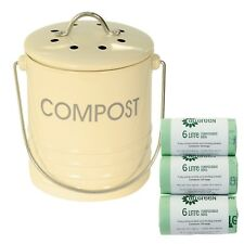Mini Cream Metal Compost Caddy + 150x compostable bags - Kitchen Compost