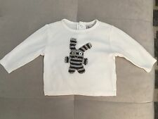 Baby Boy Old Navy Top Shirt 3-6 Month White With Knit Bunny