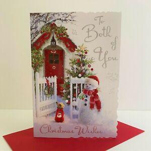 Jonny Javelin To Both Of You Christmas Wishes Card Snowman Dog Front Door/XV070