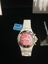 Technomarine white ceramic,with Diamonds , Red dial, New in box with Papers