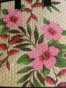 13X12X10  Large Insulated Bag For ,Gifts Grocery, Travel.  Pink Hibiscus.