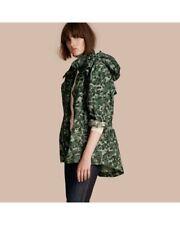NWT Burberry Brit Camo Green Print Cotton Parka Jacket, Size 42 EU, 8 US