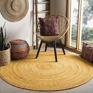 Rug 100% Cotton Natural Braided Style Carpet 3x3 Feet Modern Living Area Rug
