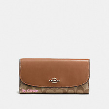 New Authentic Coach F57319 PVC and Leather Checkbook Wallet Khaki / Saddle