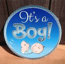 It's a Boy Blue Round Metal Sign Vintage Baby Shower Birth Announce Gift Decor