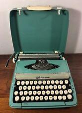 Vintage Smith Corona Corsair Deluxe Portable Typewriter Aqua Blue W Case