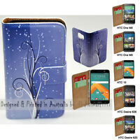 For HTC Series Mobile Phone - Blue Swirl Print Flip Case Wallet Phone Cover