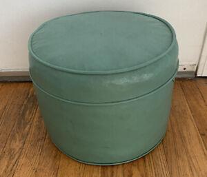 Vintage Green Vinyl Round Footstool Ottoman