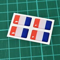 4x France French Flag Domed Stickers - High Gloss Raised Gel Finish