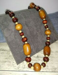 Brown Wooden Cream Necklace Chunky Boho Statement Costume Jewellery