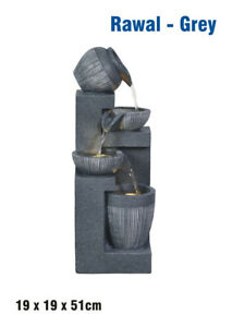 Water Fountain  - Indoor/Outdoor Water Feature with LED Light - Rawal Grey