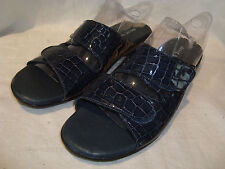 David Tate Womens Navy Animal Leather Adjustable Slides Sandals Shoes 12N NEW