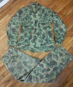 Vintage 1950s Sears Duck Frog Camo Outfit Shirt Pants Sears Sportswear 34 M/S