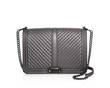 NWT Rebecca Minkoff CHEVRON Jumbo Love Quilted Leather Shoulder Bag GRAY $355+