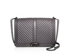 NWT Rebecca Minkoff CHEVRON Jumbo Love Leather Shoulder Bag GREY GUNMETAL $355+