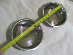 """(2 pcs) ~8 Cup Stainless Steel Dog or Cat Dishes, ~3"""" High x ~7""""Dia, Water, Food"""
