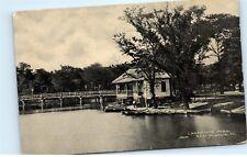 *Lansdowne Park East Boat House Dock St. Louis Illinois Vintage Postcard C74