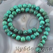 "8x8mm Natural Blue Hubei Turquoise  Round Beads 15"" (TU601)b"