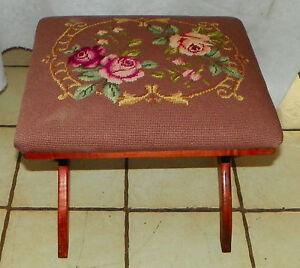 Cherry Needlepoint Footstool / Stool  (ST147)