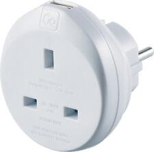 Go Travel Earthed UK to European Adaptor-EU Convertor inc USB (Adapter Ref 625)