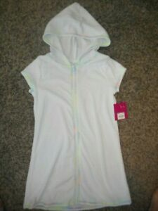 SO NWT Girl 6 6X yrs white zippered front SS hooded swim coverup colorful trim