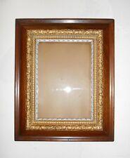 Antique Maple Civil War Era Picture Frame Ornate Gold Silver Tone Gesso Trims