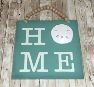 New Beaded Wood Wall Hanging HOME Shell Sign Beach House Theme Décor Nautical 9""