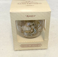 Hallmark Designer Keepsake Angels Glass Ball Ornament 1983 Vintage