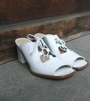 Jazz Made In Spain White Leather Chunky Heel Lace Up Sandals 7.5N