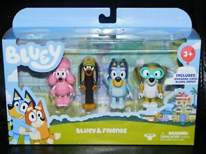 Bluey and Friends 4 Pack Figure Set With Bluey Snickers Coco and Honey NEW