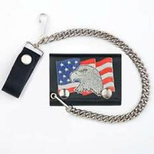 MASCORRO SOFT LEATHER TRI-FOLD CHAIN WALLET W/EAGLE HEAD AND FLAG