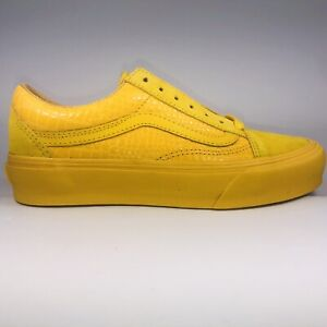 VANS Old Skool Croc Skin Lemon Chrome Yellow Sneakers Mens Size 4.5/ Womens 6